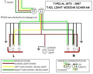 Headlight And Tail Light Wiring Schematic  Diagram  Typical 1973  1987 Chevrolet Truck, Chevy
