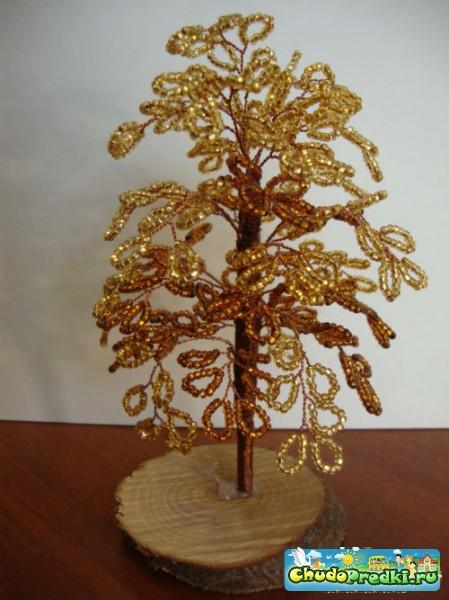 Осеннее дерево из бисера. Мастер класс с пошаговым фото