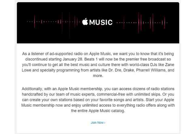 iTunes Radio no longer free on January 28