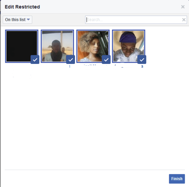 Facebook Restricted List