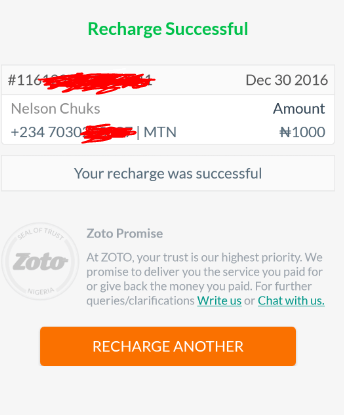 zoto recharge success