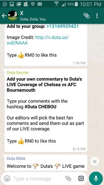 Duta WhatsApp LIVE commentary Coverage