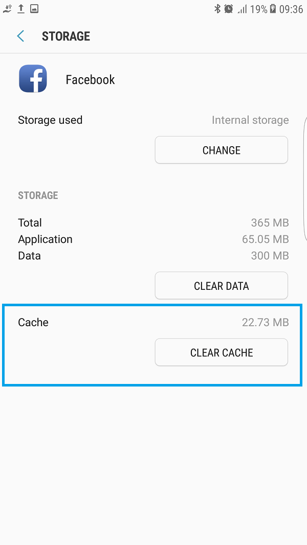 Facebook has stopped clear cache