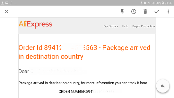 AliExpress Order Tracking order received