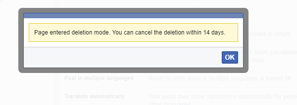 Remove Facebook Page Deletion Mode