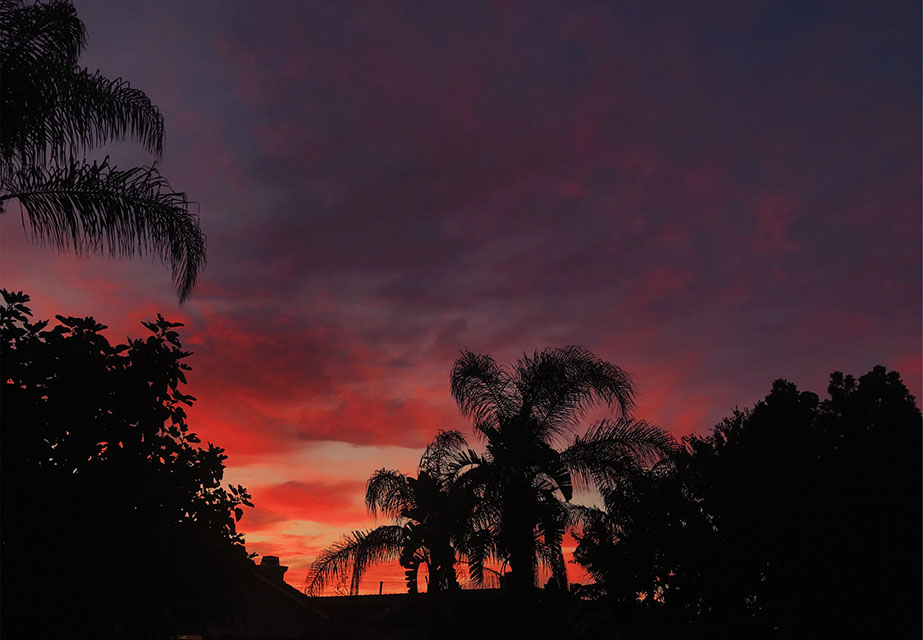 photo of bright red, orange, and purple sunset taken from my backyard.