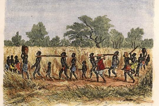 Sklavenkarawane-Holzstich-Slave-caravan-Africa-Woodcut-1870-Caravane
