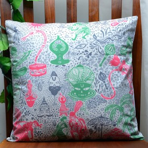 Green Red Indian Culture Cushion Cover