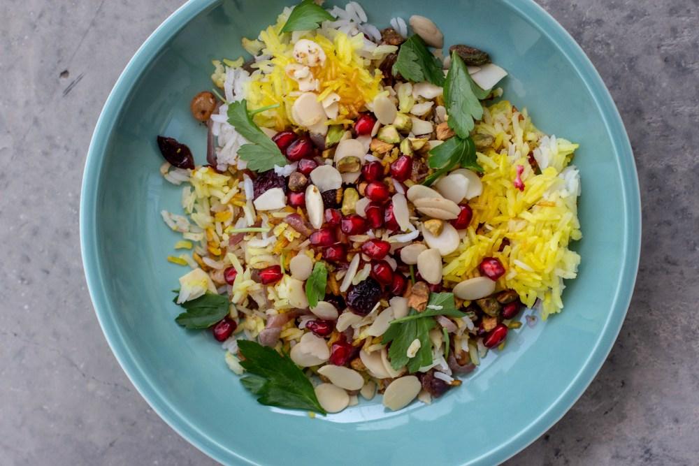 Jewelled Saffron Rice in Sage Le Cresuet Coupe Pasta Bowl