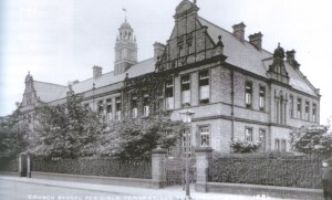 The Newcastle High School building with its creepers c1910