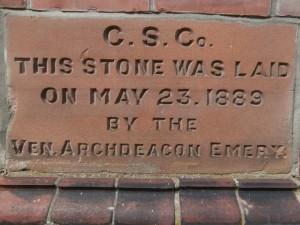 Newcastle High School building dedication stone.