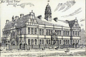 Etching of 'The New Church School, Jesmond' published in The Monthly Chronicle, June 1890.