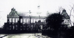 Newcastle High School c 1900 with its bell tower.