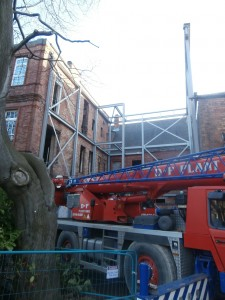 My first close-up glimpse of the new extension steelwork.