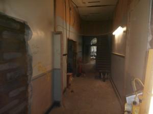 The bottom corridor as it looks now facing the side door.
