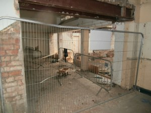 Looking towards the demolished section of the single-storey kitchen block from the Dining Room.