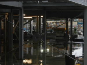 Under the steelwork has become one big 'Tankerville Puddle' with the incessant rain.