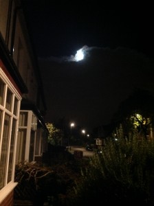 'The moon rolls over the roof and falls behind/my house'