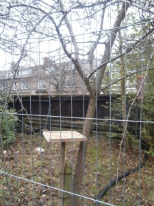 Wates' Gateman, Peter Wilson has now built a bird table behind one of the tree preservation fences.