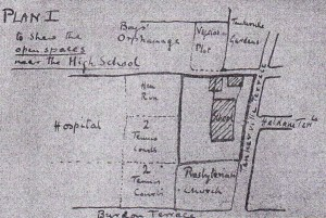 Miss Gurney's hand-drawn plan of the Church High site in 1918 clearly shows two detached buildings, one of which was the Caretaker's Cottage, at the north end of the School.