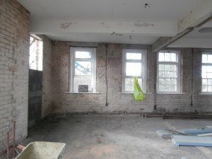 The wall separating the Staff IT Room and the ICT Suite, with its connecting door has now been demolished and the doorway onto the fire-escape is now being bricked up.