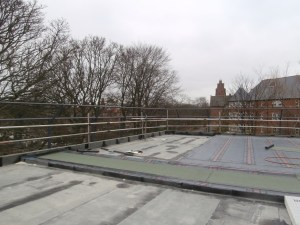 The south-west corner of the Roof Terrace looking towards St Mary's Court.