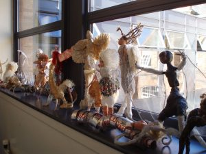 Key Stage 3 sculpture display in the Art corridor.