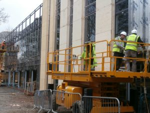 Two thirds of this façade will be the glass walls of the Dining Room.