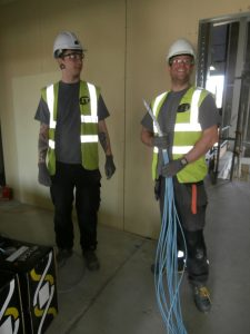 NEIT workers busy installing the network cabling.