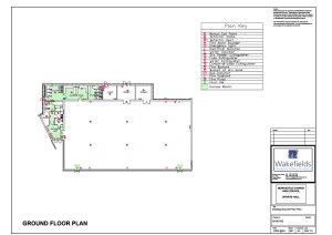 The original Church High fire plans for the Sports Hall.