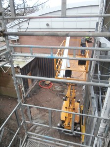 Sealed off Sports Hall entrance area, post-demolition, taken from new build roof, January 13th Tour.