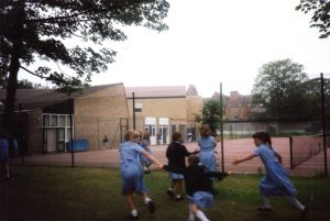 The tennis courts in the early 1990s before the Sports Hall and the Junior School Science extension were built.