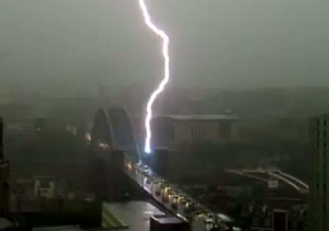 Lightning striking the Tyne Bridge on 'Thunder Thursday' 2012.