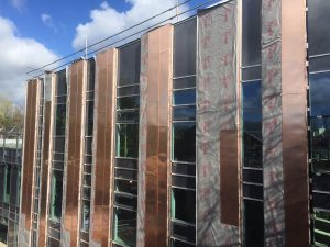 The cladding panels from the old building roof.