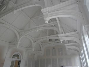 The Hall ceiling looking towards the back south wall.