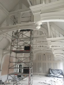 The newly white Hall ceiling: north end.