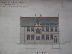 Oliver & Lesson's 1888 architect's drawing of Newcastle High School's north elevation (Church High Archive: Tyne & Wear Museums)