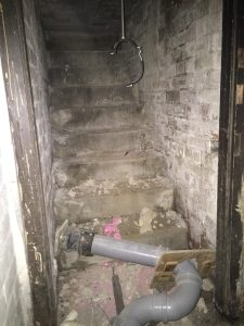 The stairs which allowed access to the Heating Cellar from the Porch.