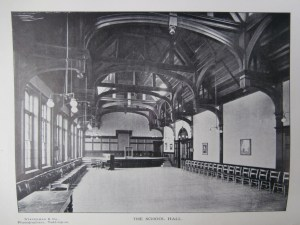 The Arts and Crafts influenced hammer-beam wooden ceiling in the NHS Hall c 1920