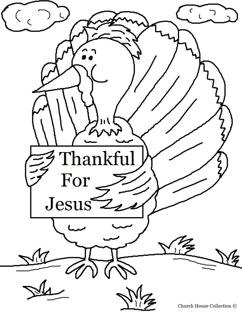 "turkey holding sign ""thankful for jesus"" coloring page"