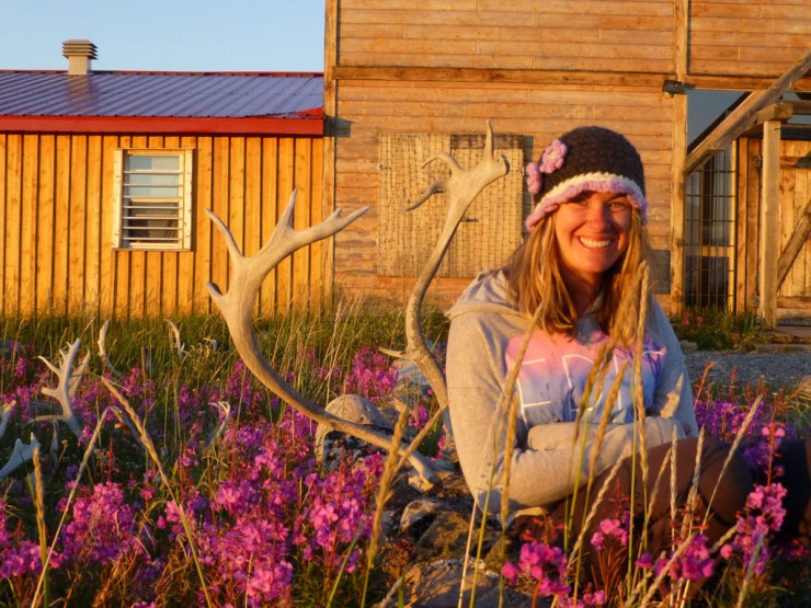 Author Katlin Miller outside Seal River Heritage Lodge.