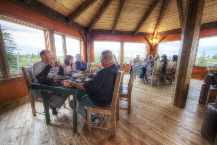 Dining room at Nanuk Polar Bear Lodge.