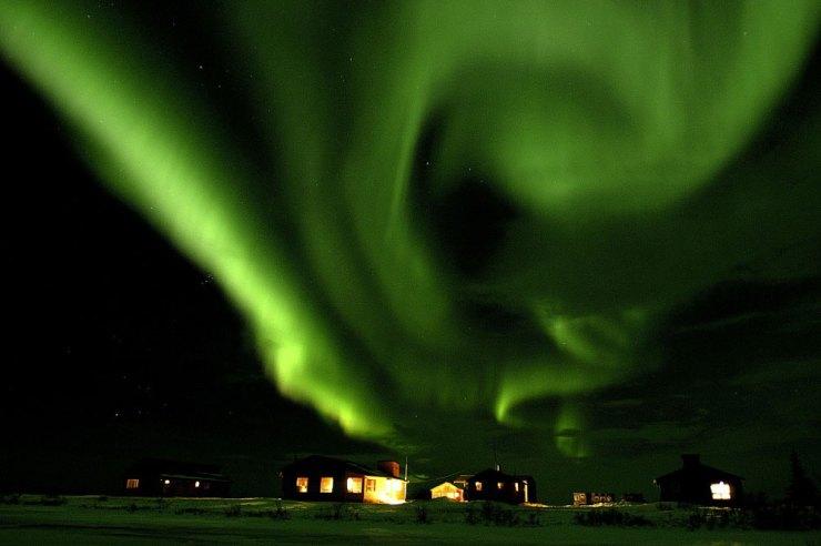 Northern lights over Dymond Lake Eco Lodge.
