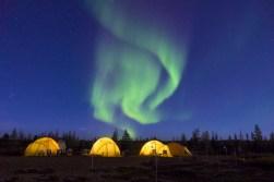 Arctic Safari tents under the Northern Lights. Jad Davenport.
