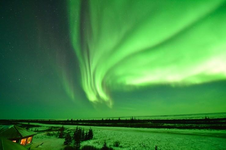 Northern lights over Nanuk Polar Bear Lodge.