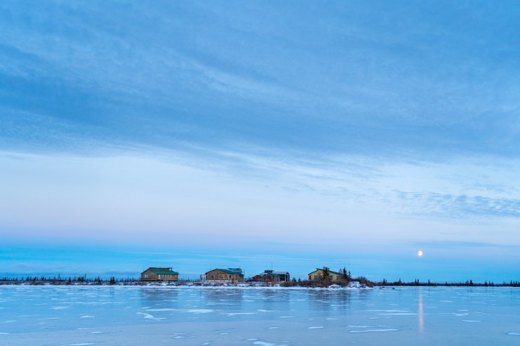 Dymond Lake Ecolodge as seen from the frozen lake we learned to skate on. With polar bears. Scott Zielke photo.
