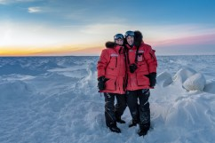 Christoph and Fabienne Jansen on Hudson Bay ice.