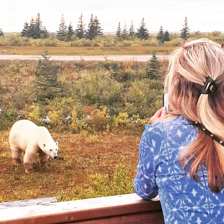 Dynie Sanderson photographing a polar bear from the deck at Nanuk Polar Bear Lodge.