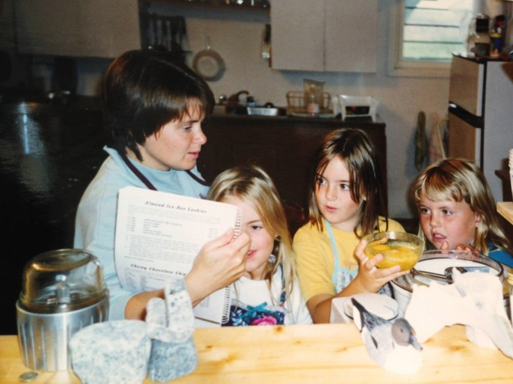 Early days at Churchill Wild. Jeanne Reimer and daughters in the kitchen.