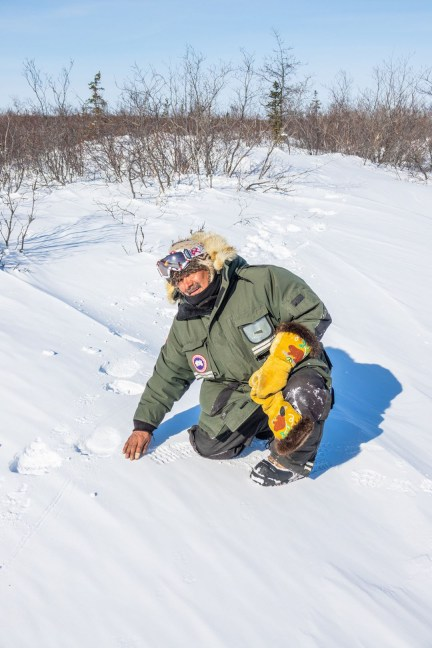 Moose mitts and polar bear tracks. Albert Saunders. Nanuk Polar Bear Lodge. Jad Davenport photo.
